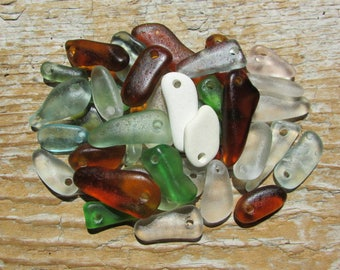 BEACH GLASS Stick Pendants Charms Sea Glass Charms MULTI Colors Dangles
