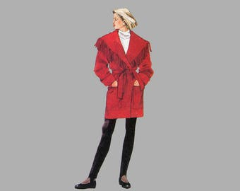 Coat sewing pattern McCall's 6795 Sz Large / Ex Large, Thigh length coat Shawl collar coat Coat large pockets Fringed collar Complete UNCUT