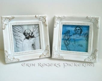 Mini 4x4 Frame with Angel Print one framed print 4 choices available