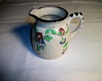 "Vintage Ceramic Pitcher w. handle. Handpainted in Japan. Floral. 4.5""H. x 4""dia."