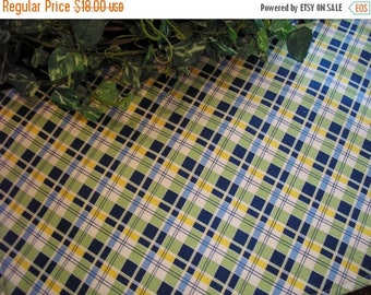 SALE Table Runner Plaid Green Blue Yellow Padded