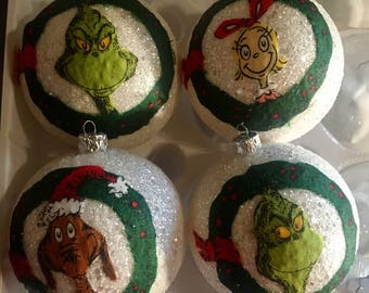 The Grinch inspired Christmas ornaments