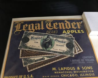 Crate end label Legal Tender Brand Apples