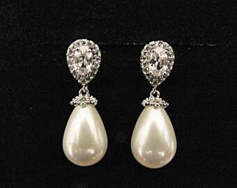 Wedding Jewellery Bridal pearl earrings pearl crystal drop wedding earrings 1930s vintage style crystal pearl drop wedding bridal earrings