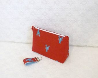 BACK TO SCHOOL Preppy Red Lobster Lilly Makeup Bag Case with Mini Keychain
