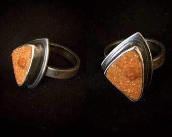 Crystal Embers Citrine Druzy Ring