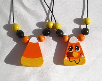 Autumn Necklace Candy Corn Necklace Fall Necklace Hand Painted Necklace Halloween Necklace Fall Jewelry Halloween Jewelry Wooden Necklace