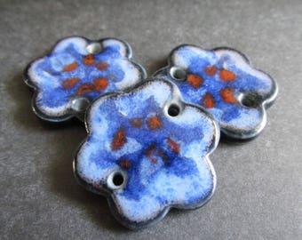 Shades of blue and red bracelet link, Layers of Glaze Porcelain Curved Bracelet Elements, Link, Bracelet Link, Bracelet compone