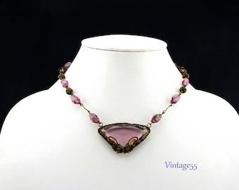 Purple Czech Butterfly Filigree Beaded Necklace