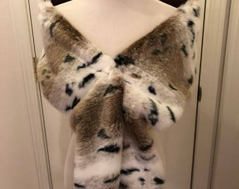 Extra Large Faux Fur Scarf, Snow Lynx Fur Scarf, Women's Long Fur Scarf