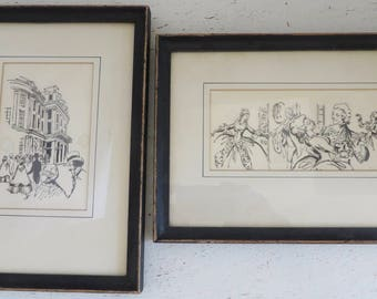 Vintage/Antique Framed Pen and Ink Drawings