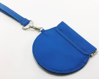 Blue Leather Coin Purse // Round Change Purse // Squeeze Coin Purse // Coin Case with Optional Strap // Unisex Gift // Leather Coin Pouch