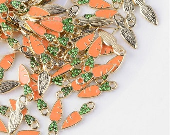 Carrot Charm - Enamel and Rhinestone - Gold/Brass - set of 6 - #HK1433