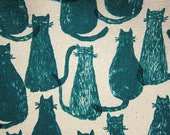 Animal Print Fabric - Cat Print Fabric - Cat Stamps in Teal Green - Cotton Linen Blend - Half Yard