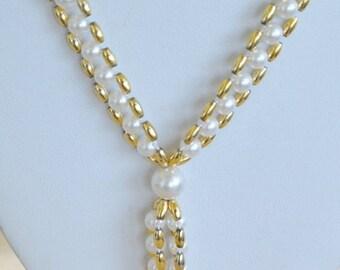 "On sale Pretty Vintage 6mm Faux Pearl, Gold tone Tassel Necklace, 30"" (AK16)"