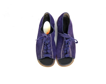 1960s MOD Suede leather Shoes PURPLE Retro Hipster Shoes Open Toes Lace Up Oxfords Short Chunky Heels Vintage women's shoes size 8.5 9