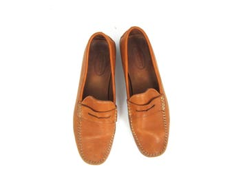 Vintage Brown Leather Shoes Preppy Loafers Simple Slip on Flats Talbots Loafers Moccasins Womens Size 10