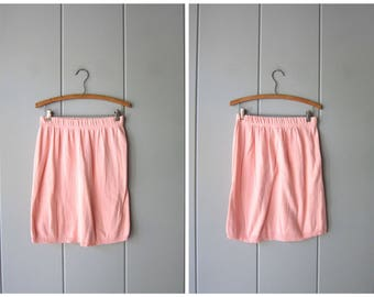 Vintage 80s Pink Mini Skirt Basic Thin Knit Skirt High Waist Miniskirt Stretch Cotton Body Con Skirt Elastic Waist Simple Skirt Womens Large
