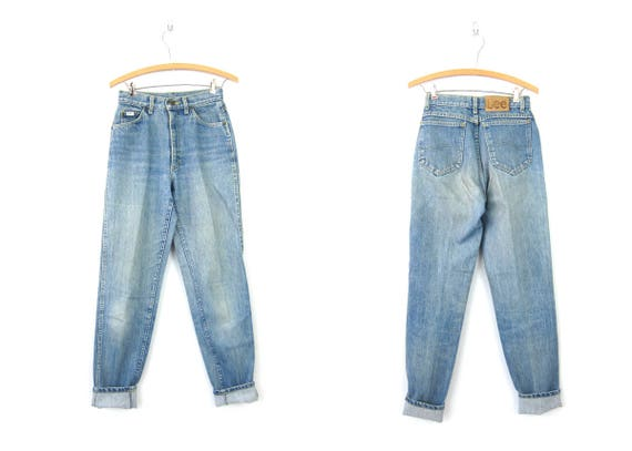 80s High Rise Jeans Washed Out LEE Blue Jeans Tapered Leg Mom Jeans Vintage 1980s High Waist Pants Distressed Faded Blue Denim Womens 7 Long