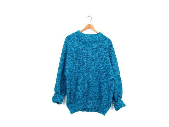 Slouchy Sweater 80s Chunky Marled Blue Black Loose Knit Boyfriend Sweater Retro 1980s Pullover Vintage Womens Medium Large
