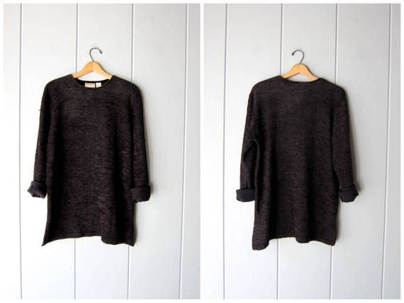 Slouchy Black Sweater Thin Soft Woven Chenille Tunic Top Shirt 90s MINIMAL Black Long Sleeve Thin Textured Knit Shirt Vintage Womens Large