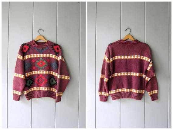 Geometric tribal sweater 80s 90s Southwestern Knit Colorful Chunky Boho Sweater Oversized Cotton Knit Pullover Purple Womens Medium Large