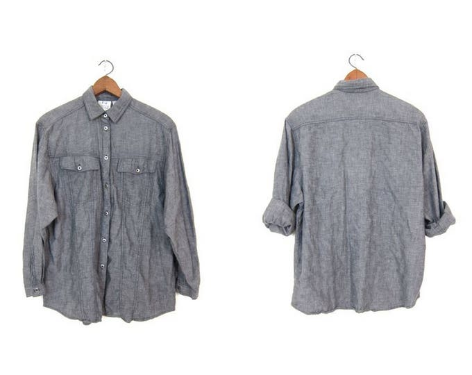 Vintage Gray Button Up Shirt 80s TOGETHER Oversized Grey Button Down Thin Cotton Shirt Oversized Denim Boyfriend Shirt Hipster Womens Large