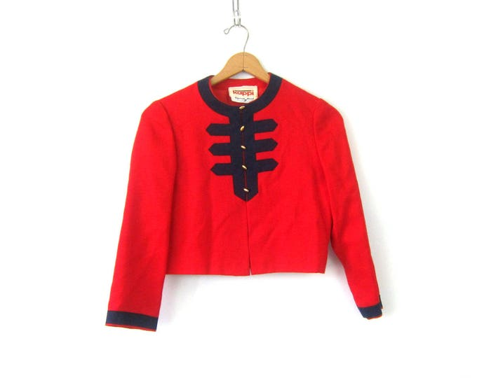 Vintage Red Cropped Jacket Button Up Kappi Ski Coat Carroll Reed Ski Shop Blazer Jacket Preppy Dress Coat Jacket Womens Small Medium