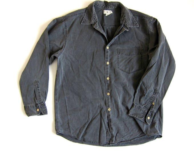 Light Grey Button Up | Mens Work Shirt | 90s Button Up Boyfriend Shirt | Worn In Gray Cotton Shirt Washed Out Slouchy Grunge Mens Medium