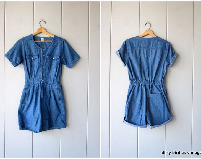 Vintage Denim Romper Coveralls Shorts Jean Shorteralls Jumper Overalls Button Up One Piece Romper Shorts Womens Size Small