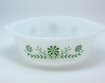 Vintage Glasbake 2 Qt Casserole Dish White with Green Floral Print J514 76 U.S.A.