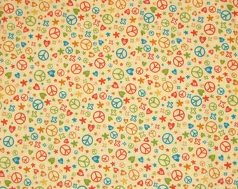 Andover FABRIC Peace Sign Heart Flower Beige Deb Eiseman - Quilting Cotton YARD