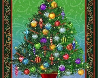 """36"""" Fabric Panel - Quilting Treasures Holiday Christmas Tree Wallhanging"""