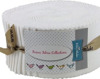 """Riley Blake Fabric - Rolie Polie Solid White - 40 2.5"""" Jelly Roll Strips"""