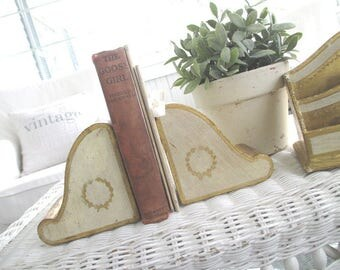 Vintage Florentine Bookends * Shabby Cottage * Paris Apt. * Made in Italy * Book Ends