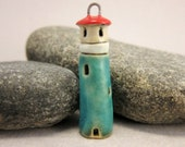 Lighthouse Pendant in Stoneware...Turquoise Blue / White / Red