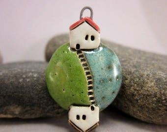 Come Over...Planet Pendant by elukka...Stoneware