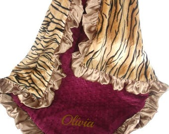 SALE Burgundy Wine Gold Tiger Minky Baby Blanket,  3 SizesCan Be Personalized