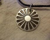 Romani Wheel Small Etched Nickel Silver Pendant