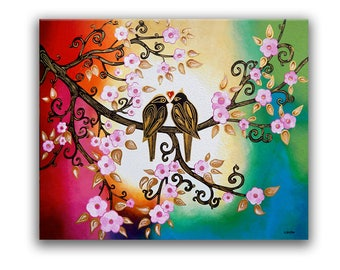 Love Birds Painting Cherry Blossom Art, Pink Flower Art Bedroom Home Decor, Wall Art Picture Couples Wedding Gift