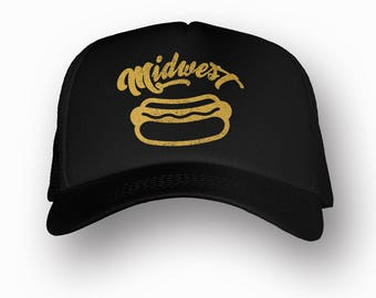 MIDWEST Hot Dog Trucker Hat (+ Colors) - Zen Threads - Hand screen printed in California - FREE SHIPPING