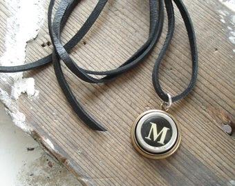 Typewriter Key Necklace. Letter M Necklace. Vintage Typewriter Key Necklace. Personalized Initial. Adjustable Leather Necklace. Unisex Gift.
