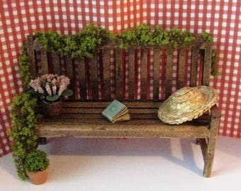Dollhouse Miniature Garden bench, Dollhouse bench, Garden, greenery, dark oak,  twelfth scale, dollhouse miniature