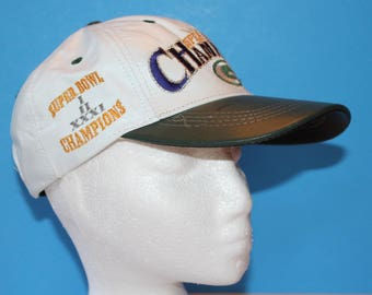 Vintage Leather Grean Bay Packer Cap, 1997. One Size Fits All