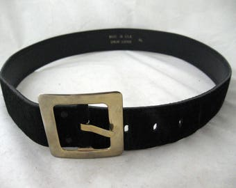 Back in Black - Vintage 1980s wide suede belt M L