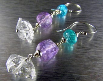25 OFF Herkimer Diamonds With Apatite And Amethyst Dangle Sterling Earrings