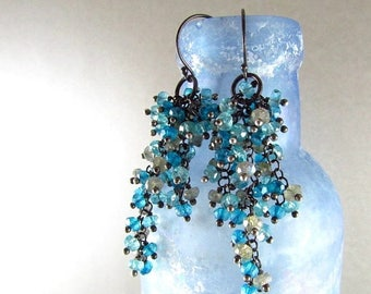 25 OFF Apatite, Labradorite And Quartz Oxidized Sterling Silver Cluster Earrings - Waterfall