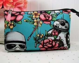 Aqua Floral Wars Zipper Pouch/ Star Wars Pouch /Floral Star Wars Pouch