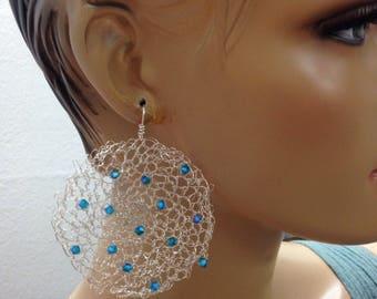 Crochet earrings silver with green blue crystals Knitted earrings handmade Swarovski earrings
