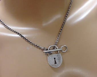 Lock and key necklace silver hammered lock and key on rope chain